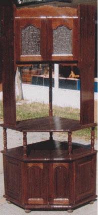 Ъглов ТВ бар с надстройка масив цвят венге